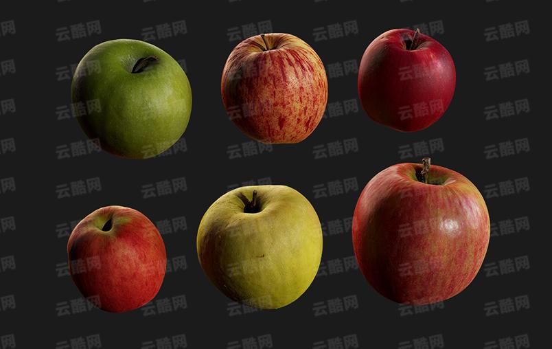 C4D水果 苹果合集-云酷网