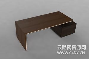 云酷C4D-室内家具书架柜子茶几桌子模型03