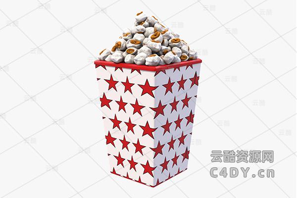 云酷网C4D模型-食物 爆米花