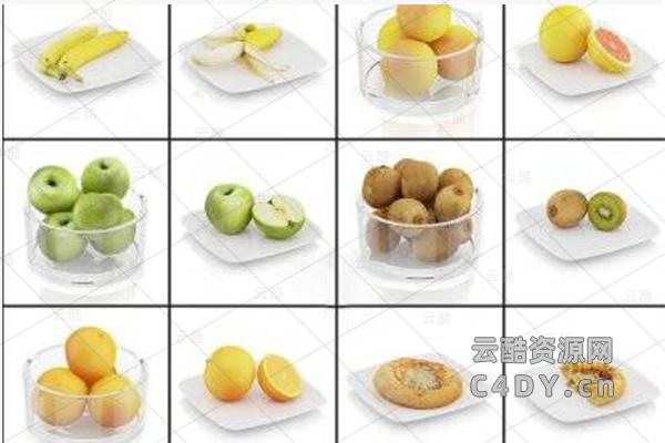 81套食物水果C4D模型-云酷网