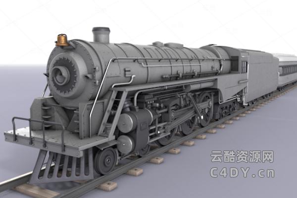 伯克希尔的蒸汽机车火车c4d模型-云酷网c4d
