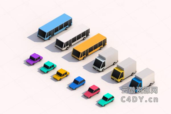 C4D制作多种3D卡通城市汽车模型,C4D模型,云酷网c4d