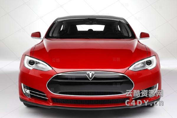 特斯拉电动汽车模型,C4D模型,云酷网c4d