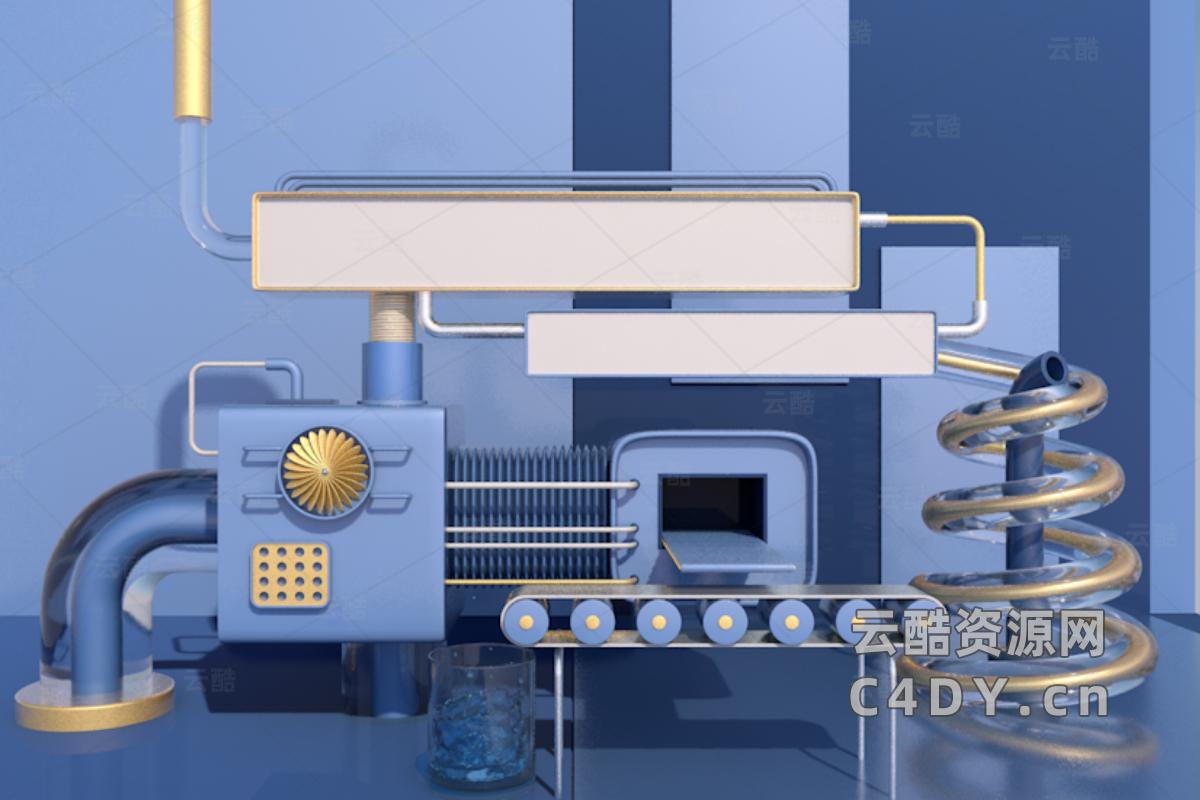 电商海报C4D工程,传送带工程,活动工程-云酷网c4d