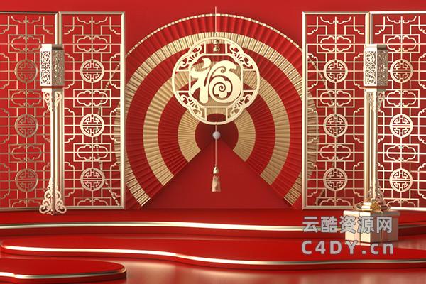 年货节电商活动场景,C4D工程,电商氛围活动场景工程-云酷网c4d