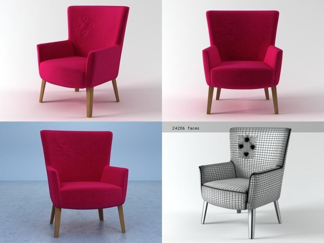 椅子单人-室内沙发,C4D模型-云酷网c4d