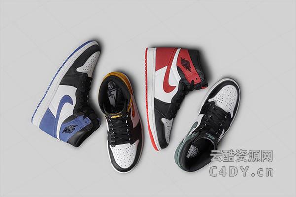 aj鞋子模型-耐克C4D模型 -云酷网c4d