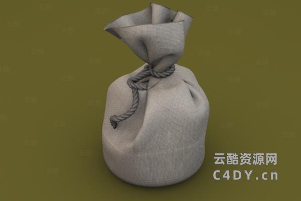 写实古代钱袋,复古钱袋纹理,c4d钱袋模型-云酷网c4d