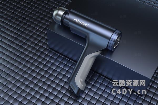 筋膜枪C4D模型_健身筋膜枪精模-云酷网c4d