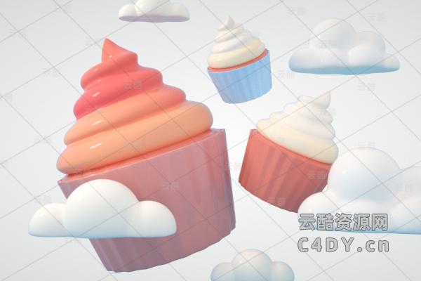 卡通冰淇淋_卡通素材_云朵素材_c4d冰淇淋-云朵模型-云酷网c4d