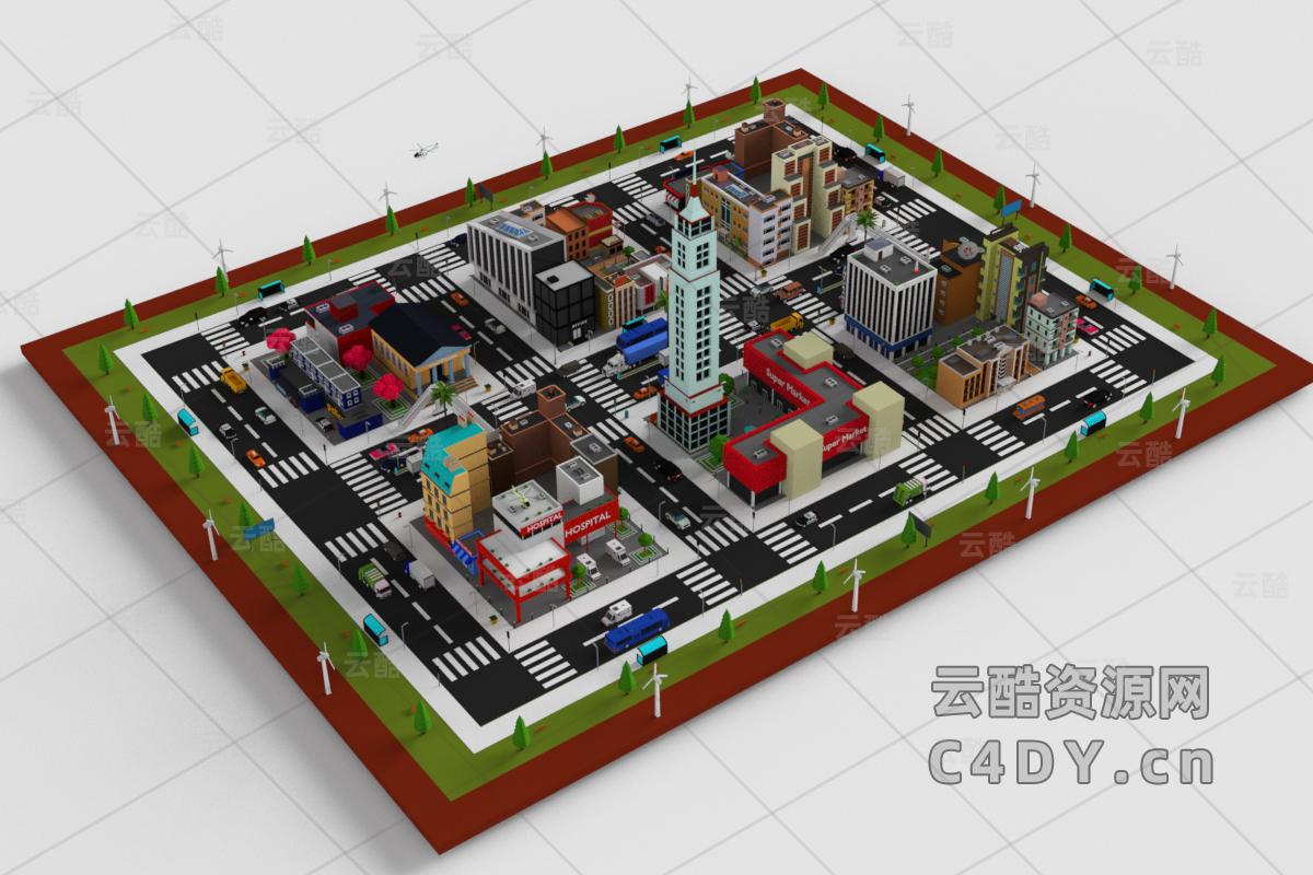 卡通城市模型包_卡通城市建筑素材_建筑素材-C4D模型包-云酷网c4d