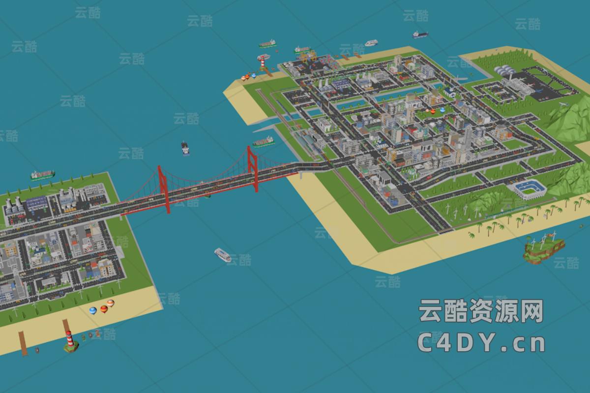 卡通海边城市模型包_卡通海边建筑素材_海边建筑素材-C4D模型包-云酷网c4d