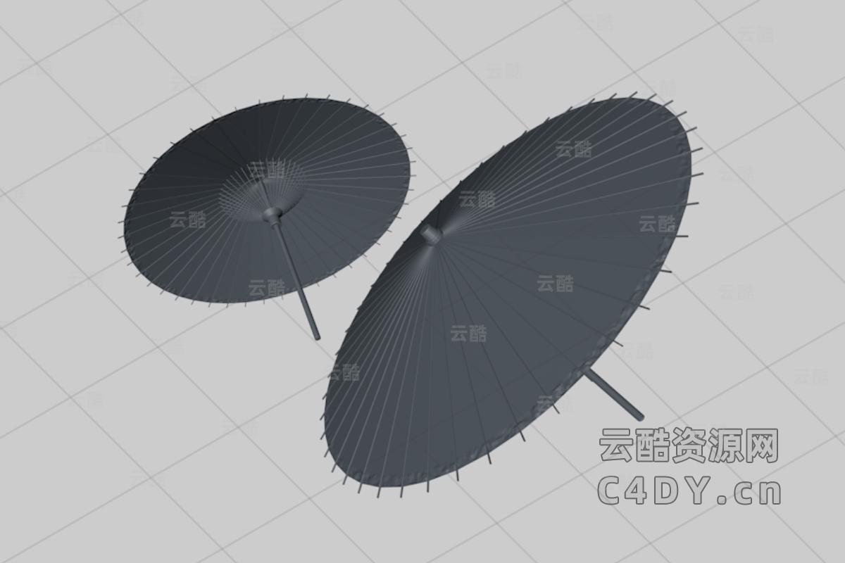 写实古代油纸,复古伞,c4d伞模型-云酷网c4d
