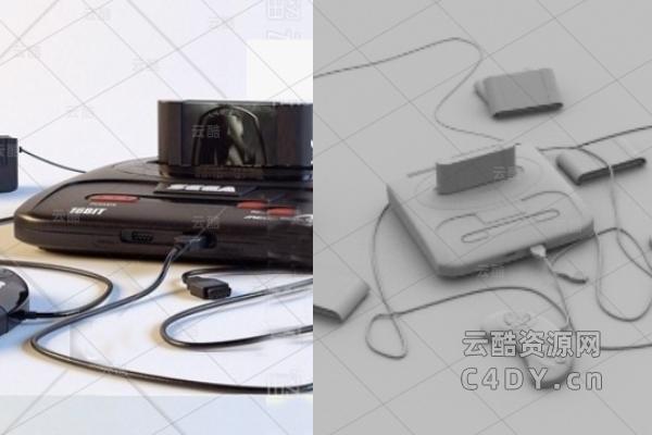 现代游戏机_电子产品_C4D游戏机模型_精模-云酷网c4d