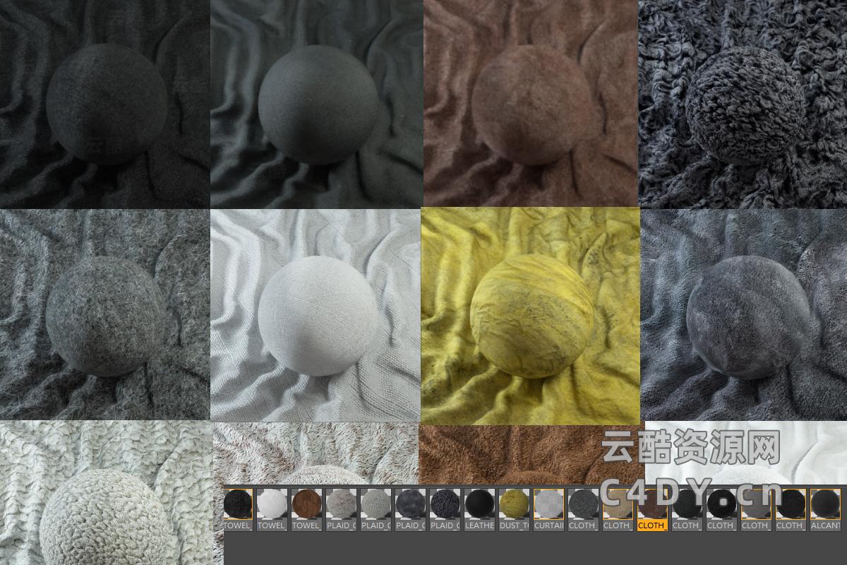 Octane布料材质预设18套 4K材质Octane Ready (Orbx+C4D格式)-云酷网