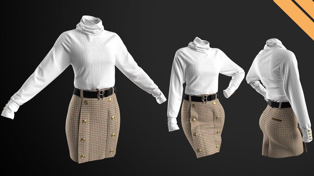Marvelous Designer 铅笔裙女士套装毛衣