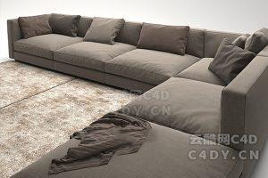 高质量沙发01-室内沙发,C4D沙发模型-云酷网c4d