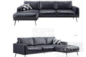 皮沙发02-室内皮沙发抱枕套装,C4D沙发模型-云酷网c4d