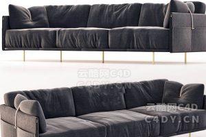 皮沙发-室内皮沙发套装,C4D沙发模型-云酷网c4d