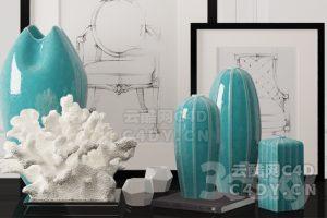 室内摆件-室内家具高级摆件,C4D摆件模型-云酷网c4d