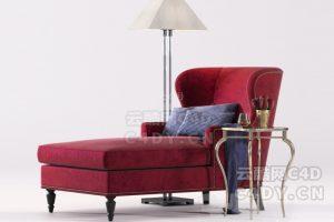 现在代沙发躺椅-室内现在代沙发躺椅模型,C4D沙发躺椅模型-云酷网c4d