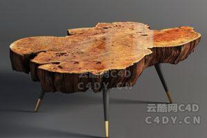 原木桌子-室内家具原木桌子,C4D原木桌子模型-云酷网c4d