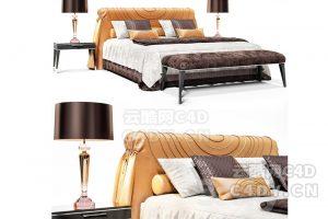 现在代黄色床具-室内现在代床上用品模型,C4D沙发躺椅模型-云酷网c4d