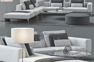 现代沙发-室内现代沙发躺椅模型,C4D沙发躺椅模型-云酷网c4d