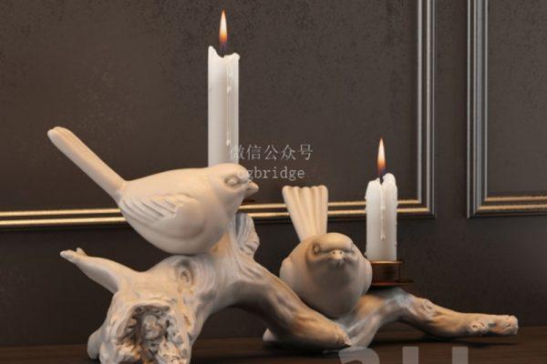 室内摆件-室内家具高级摆件蜡烛,C4D摆件模型-云酷网c4d