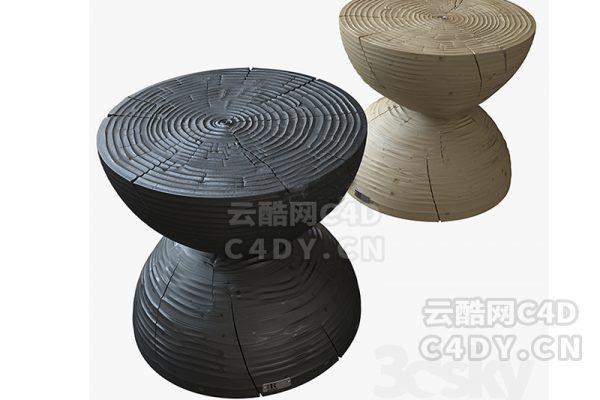 木纹凳子-室内木纹凳子,C4D沙发凳子模型-云酷网c4d
