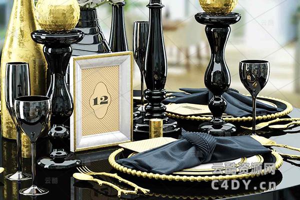 室内桌子摆件装饰-室内家具高级桌子摆件装饰,C4D摆件装饰模型-云酷网c4d