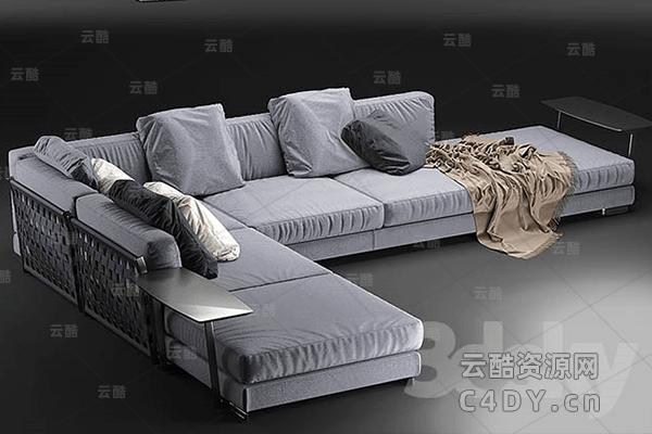 现代沙发-室内现代时尚沙发躺椅模型02,C4D沙发躺椅模型-云酷网c4d