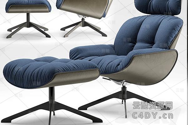 现代沙发躺椅-室内现代沙发躺椅模型,C4D沙发椅模型01-云酷网c4d