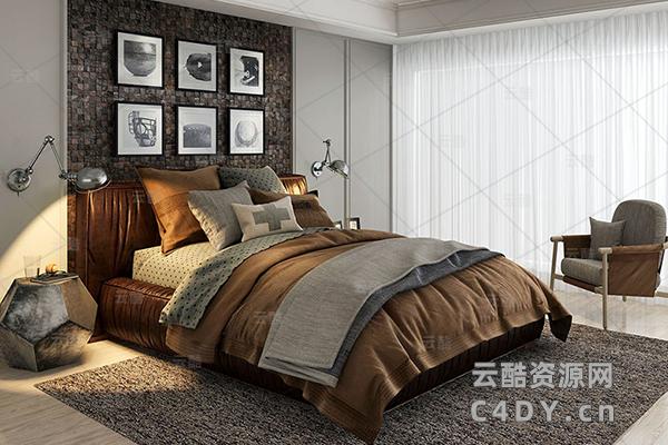 现在代床具-室内现在代床上用品模型,C4D床具枕头模型-云酷网c4d