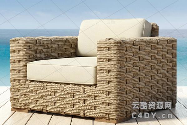 现代藤条躺椅-室外现代皮藤条躺椅模型,C4D沙发椅模型-云酷网c4d