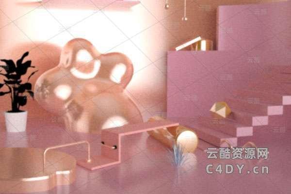 C4D粉色可爱电商海报,电商氛围活动场景工程-云酷网c4d