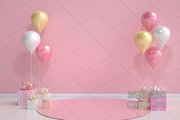 电商618狂欢购物节活动气球海报彩-云酷网c4d