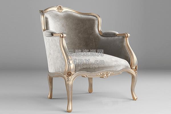 欧美沙发椅子-室内现代欧美沙发躺椅模型,C4D沙发椅模型03-云酷网c4d