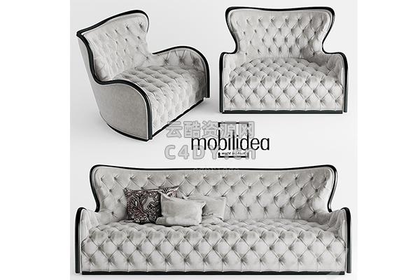 现代沙发躺椅-室内现代沙发躺椅模型,C4D沙发躺椅模型-云酷网c4d