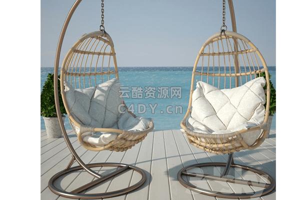 休闲网格吊椅子-室内休闲吊椅,C4D吊椅模型-云酷网c4d
