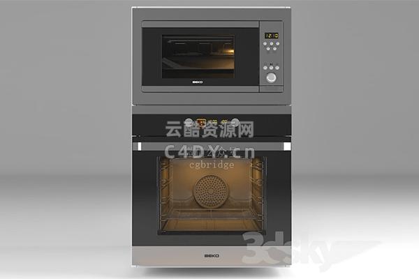 厨房烤箱-智能电烤箱C4D模型,C4D烤箱模型-云酷网c4d