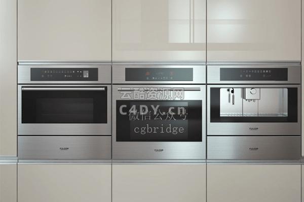 现代厨房-厨房烤箱-智能烤箱C4D模型,C4D烤箱模型-云酷网c4d