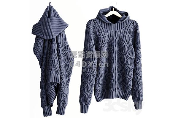 现代冬季毛衣-毛衣服饰-毛衣3D模型,C4D睡衣模型-云酷网c4d