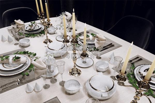 桌子餐具-室内家具桌子餐具,C4D餐具模型-云酷网c4d