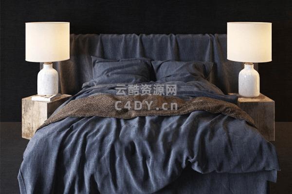现代床具-室内现代蓝床模型,C4D床具枕头模型-云酷网c4d
