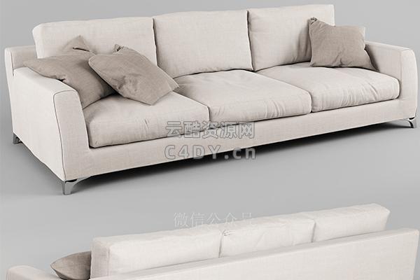 现代单沙发欧美白色沙发-室内现代模型,C4D单沙发欧美模型-云酷网c4d