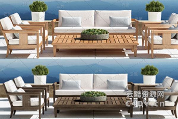 现代室外躺椅-室外现代躺椅模型,C4D沙发椅模型-云酷网c4d