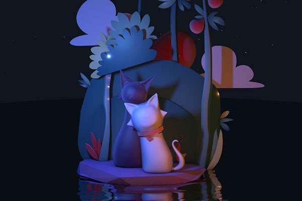 可爱两只猫星空海报工程_卡通两只猫星空海报素材_卡通两只猫素材-C4D卡通两只猫模型-云酷网c4d