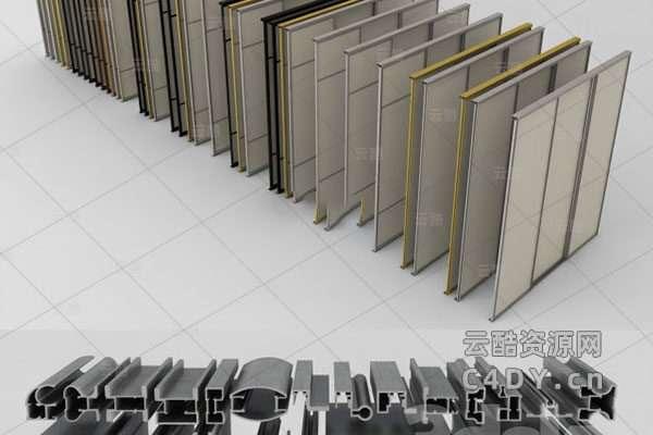 现代铝合金门-室内铝合金模型,C4D铝合金模型-云酷网c4d