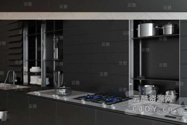 现代厨房-现代厨房灶台-餐具大全C4D模型,C4D厨房模型-云酷网c4d